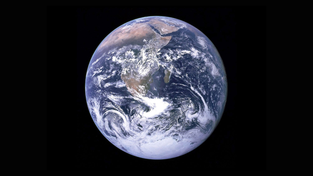 View of the Earth as seen by the Apollo 17 crew traveling toward the moon